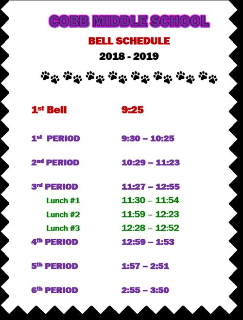CMS regular bell schedule