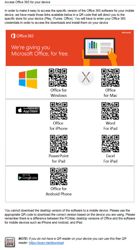 Office 365 QR Codes for deivces
