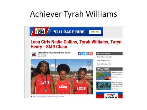 Achiever Tyrah Williams excels in Field and Track also