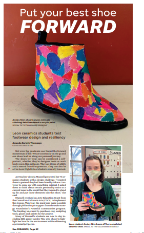 Leon Ceramics Students test footwear design and resiliency
