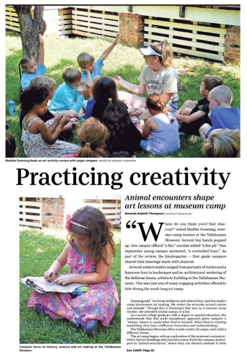 Maddie Domning leads an art activity review with eager campers. (Photo: Amanda Thompson)