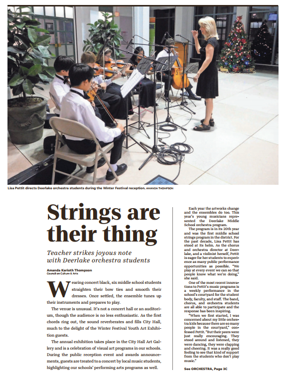 Arts News From Coca Strings Are The Thing At Deerlake Middle School