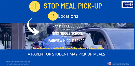 1 STop Meal Pick-Up at Fairview, Nims, and Raa