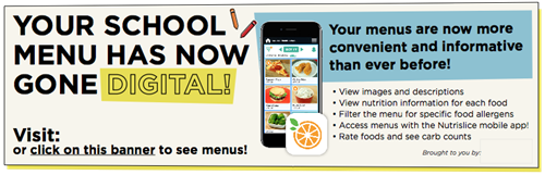 Your school menus have gone digital.