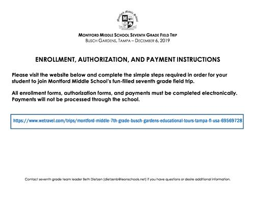 Field trip enrollment and payment form
