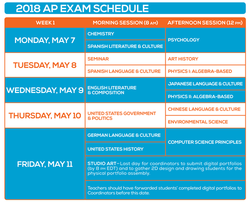 2018 Exam Schedule Week 1