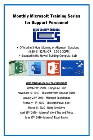 Flier for Microsoft Training for Support Personnel.  Contact Kathleen Malloy at malloy@leonschools.net for more details.