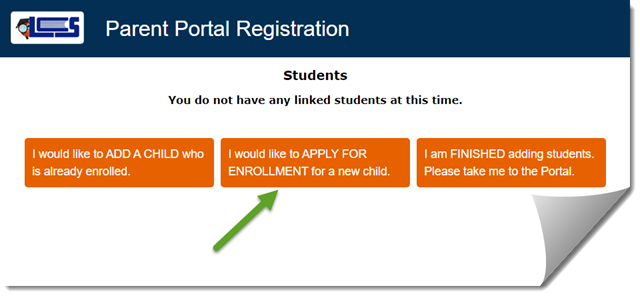 Parent Portal Registration screen